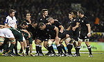 The All Black forward pack prepares for a scrum during the international rugby match between the New Zealand All Blacks and South Africa at Jade Stadium, Christchurch, New Zealand. 14 July 2007. Photo: Marc Weakley