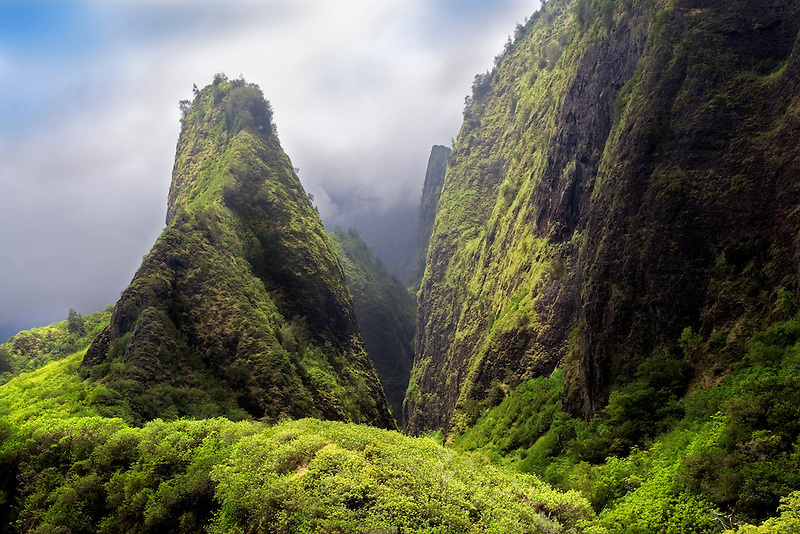 Iao Needle through the clouds. Iao State Park. Maui, Hawaii.