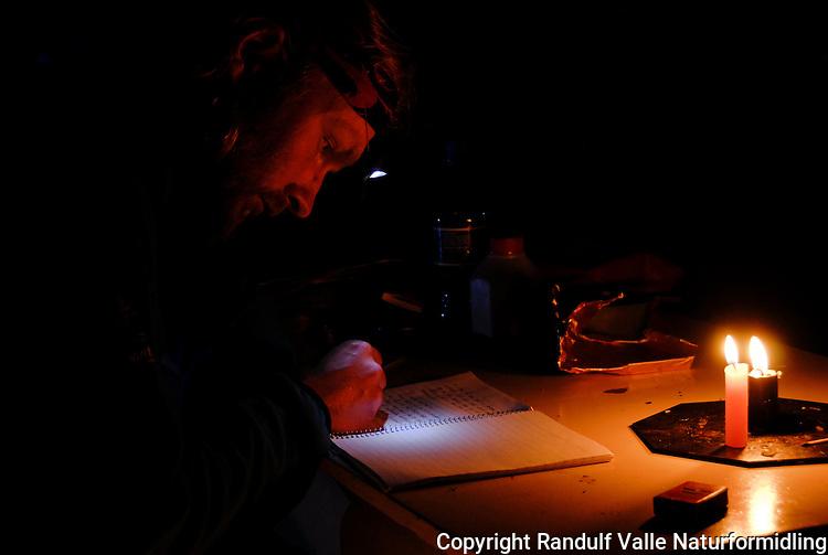 Mann skriver dagbok. ---- Man keeping diary.