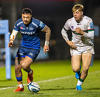 6th March 2020; AJ Bell Stadium, Salford, Lancashire, England; Premiership Rugby, Sale Sharks versus London Irish; Denny Solomona of Sale Sharks chases down a loose ball