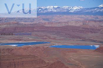Potash mining ponds outside of Canyonlands National Park. Utah