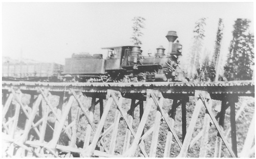 D&amp;RGW #228 crossing a trestle with an RGS freight train while on lease to them.  There is some unverified evidence that #228 was leased to the RGS or perhaps a logging road in 1910.<br /> D&amp;RG/RGS  RGS Somewhere, CO  ca. 1910