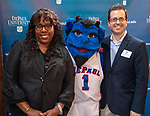 """Guests take pictures with DePaul mascot DIBS during a reception recognizing the contributions of adjunct faculty to the DePaul community, Tuesday, May 8, 2018, in Cortelyou Commons. The """"pep rally"""" style """"RAH-RAHception"""" honored the accomplishments of DePaul's adjuncts and included performances, raffles and give-aways. (DePaul University/Jeff Carrion)"""