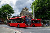 A general View of St Marys Church as First Cymru number 11 bus passes by, Swansea, Wales, UK. Monday 10 June 2019