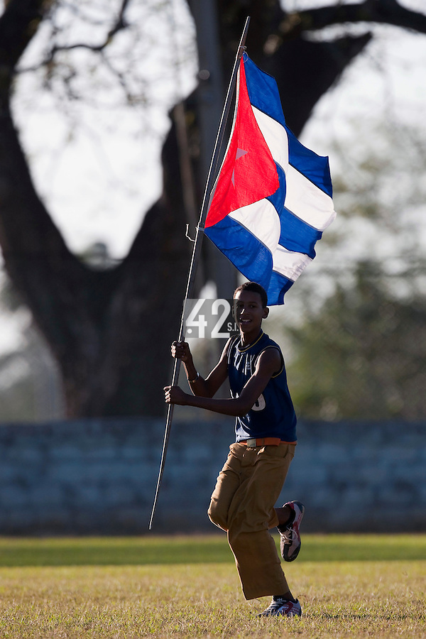 BASEBALL - POLES BASEBALL FRANCE - TRAINING CAMP CUBA - HAVANA (CUBA) - 13 TO 23/02/2009 - PHOTO : CHRISTOPHE ELISE.CUBA NATIONAL FLAG (FRANCE)