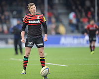 20130324 Copyright onEdition 2013©.Free for editorial use image, please credit: onEdition..Owen Farrell of Saracens prepares to take a penalty kick during the Premiership Rugby match between Saracens and Harlequins at Allianz Park on Sunday 24th March 2013 (Photo by Rob Munro)..For press contacts contact: Sam Feasey at brandRapport on M: +44 (0)7717 757114 E: SFeasey@brand-rapport.com..If you require a higher resolution image or you have any other onEdition photographic enquiries, please contact onEdition on 0845 900 2 900 or email info@onEdition.com.This image is copyright onEdition 2013©..This image has been supplied by onEdition and must be credited onEdition. The author is asserting his full Moral rights in relation to the publication of this image. Rights for onward transmission of any image or file is not granted or implied. Changing or deleting Copyright information is illegal as specified in the Copyright, Design and Patents Act 1988. If you are in any way unsure of your right to publish this image please contact onEdition on 0845 900 2 900 or email info@onEdition.com