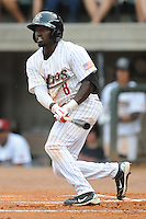 Greenville Astros center fielder Toney D'Andre #8 swings at a pitch during a game against the Burlington Royals at Pioneer Park on August 17, 2012 in Greenville, Tennessee. The Astros defeated the Royals 5-1. (Tony Farlow/Four Seam Images).
