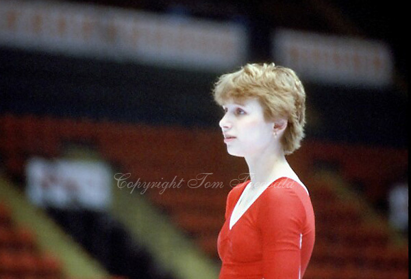 Hana Ricna of Czechoslovakia prepares to perform on balance at 1985 European Championships in women's artistic gymnastics at Helsinki, Finland in late April, 1985.  Photo by Tom Theobald.