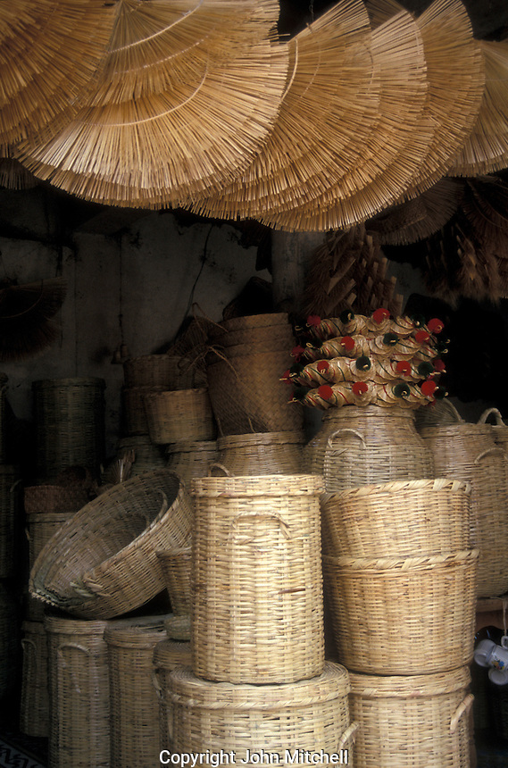 Baskets, fans  and other straw goods for sale in Tzintzuntzan near Patzcuaro, Michoacan, Mexico