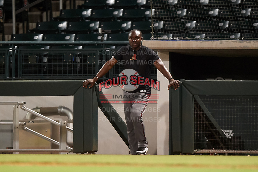 Arizona Diamondbacks rovering coach Orlando Hudson watches the AZL D-backs from the dugout during an Arizona League game against the AZL Cubs 1 on July 25, 2019 at Sloan Park in Mesa, Arizona. The AZL D-backs defeated the AZL Cubs 1 3-2. (Zachary Lucy/Four Seam Images)