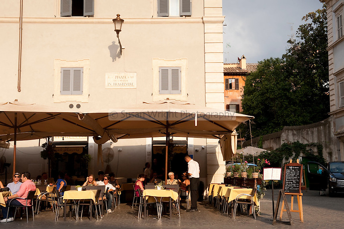 Bars in the Piazza Santa Maria in Trastevere, Trastevere district of Rome, Italy