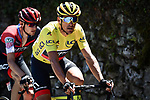 The peloton including Yellow Jersey Greg Van Avermaet (BEL) BMC Racing Team in action during Stage 5 of the 2018 Tour de France running 204.5km from Lorient to Quimper, France. 11th July 2018. <br /> Picture: ASO/Pauline Ballet | Cyclefile<br /> All photos usage must carry mandatory copyright credit (&copy; Cyclefile | ASO/Pauline Ballet)