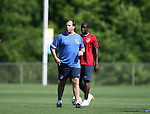12 May 2006: Bruce Arena (front), head coach, and Eddie Johnson (behind). The United States' Men's National Team trained at SAS Soccer Park in Cary, NC, in preparation for the 2006 FIFA World Cup tournament to be played in Germany from June 9 through July 9, 2006.