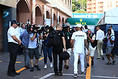 May 28th 2017, Monaco; F1 Grand Prix of Monaco Race Day;  Lewis Hamilton and team mate Valtteri Bottas Mercedes AMG Petronas F1 team walk down the paddock together