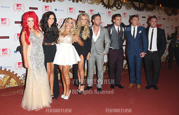 Holly Hagan, Vicky Pattison, Ricci Guarnaccio, Charlotte-Letitia Crosby, Gaz Beadle, James Tindale, Scott Timlin and Sophie Kasaei of Geordie Shore arriving for the The MTV EMA's 2012 held at Festhalle, Frankfurt, Germany. 11/11/2012 Picture by: Henry Harris / Featureflash
