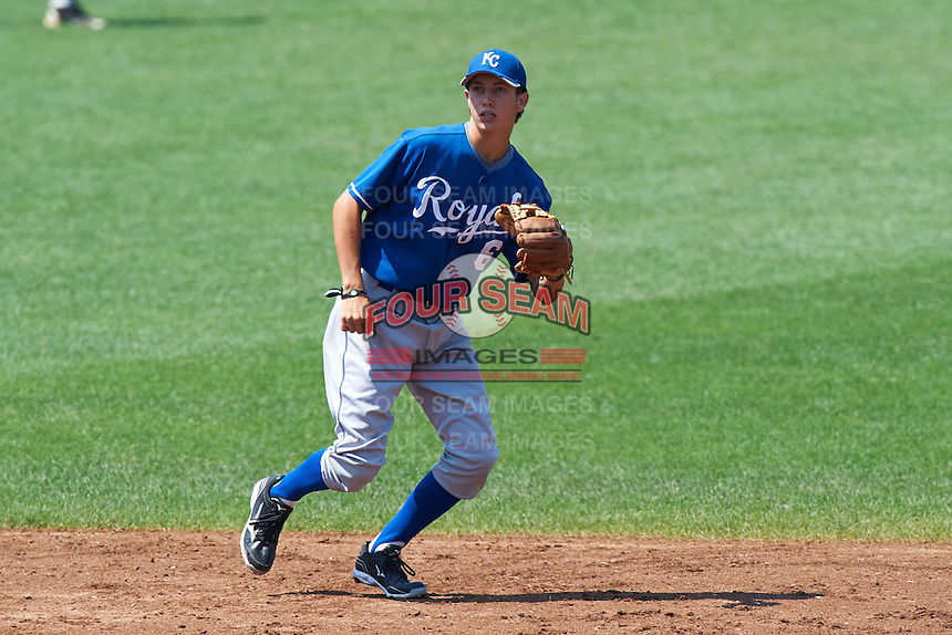 Troy Bartlett #6 of Starkville High School in Starkville, Mississippi  playing for the Kansas City Royals scout team during the East Coast Pro Showcase at Alliance Bank Stadium on August 3, 2012 in Syracuse, New York.  (Mike Janes/Four Seam Images)