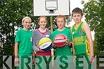 Bastketball fun at the inaugural Gneeveguilla basketball camp last week. .L-R Aine O'Brien, Eabha Murphy, Donal Hurley and Cathal McCarthy.