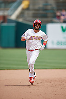 Memphis Redbirds right fielder Nick Martini (16) running the bases during a game against the Iowa Cubs on May 29, 2017 at AutoZone Park in Memphis, Tennessee.  Memphis defeated Iowa 6-5.  (Mike Janes/Four Seam Images)