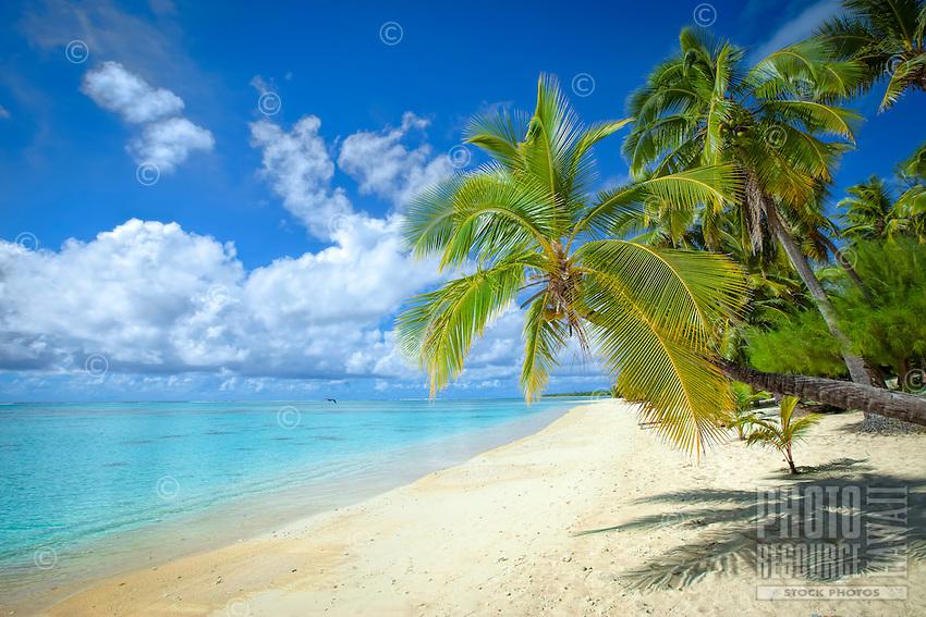 The white sandy beach at Amuri, Aitutaki Island, Cook Islands