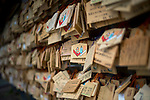 Photo shows ema prayer tablets hanging in the grounds of Izumo Taisha shrine in Izumo, Shimane Prefecture, Japan. . Photographer: Robert Gilhooly