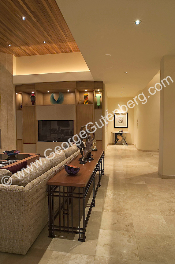 High Quality Elegant Living Room With Fireplce And Travertine Tile Floor