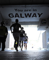 20th July 2013; Galway players run out onto the field. All Ireland Football Senior Championship Round 3, Galway v Armagh, Pearse Stadium, Galway