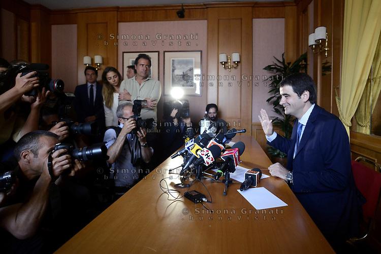Roma, 19 Maggio 2015<br /> L'europarlamentare Raffaele Fitto dopo l'addio a Forza Italia annuncia alla stampa la nascita del nuovo partito &quot;Conservatori e Riformisti&quot;