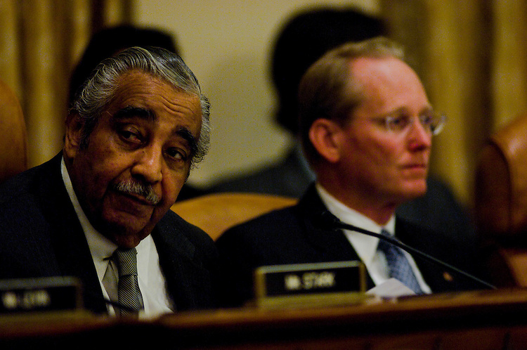 WASHINGTON, DC - May 15: Chairman Charles B. Rangel, D-N.Y., and ranking member Jim McCrery, R-La., during the House Ways and Means markup regarding legislation on tax extenders and the alternative minimum tax. The panel approved HR 6049 by a 25-12 vote. The $57 billion bill would extend various tax breaks that have expired or about to expire and would include a $19.6 billion package of renewable-energy incentives. (photo by Scott J. Ferrell/Congressional Quarterly)