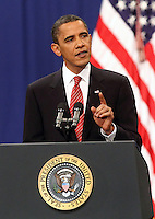 President Barack Obama announces the US Afghanistan Policy during a major speech at West Point Military Academy in upstate New York.