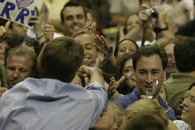 John Edwards greet a large crowd in Orlando, Florida, during the 2004 presidential campaign. September 21, 2004