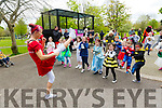 warming up for the Fancy Dress fun Run in the park on Saturday