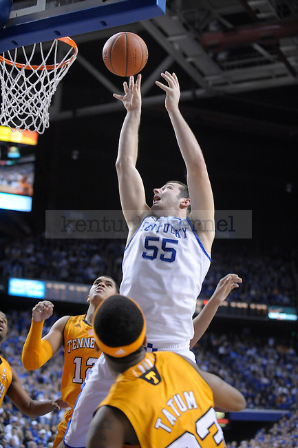 UK's Josh Harrellson puts up the ball during the first half of the University of Kentucky Men's basketball game against Tennessee at Rupp Arena in Lexington, Ky., on 2/8/11. Uk led at half 35-28. Photo by Mike Weaver | Staff
