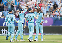 Jofra Archer (England) and Eoin Morgan (England) celebrate the wicket of Maxwell during Australia vs England, ICC World Cup Semi-Final Cricket at Edgbaston Stadium on 11th July 2019