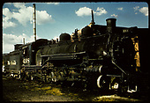 D&amp;RGW #498 K-37 in Alamosa with round house behind engine.<br /> D&amp;RGW  Alamosa, CO