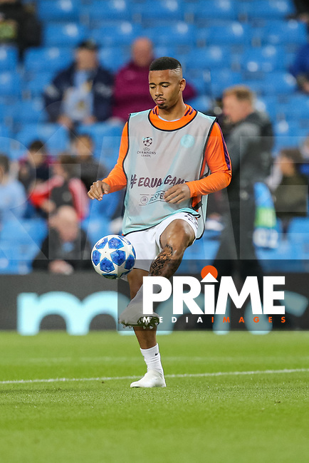 Gabriel JESUS of Manchester City warms up for the UEFA Champions League match between Manchester City and Olympique Lyonnais at the Etihad Stadium, Manchester, England on 19 September 2018. Photo by David Horn / PRiME Media Images.