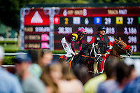 SARATOGA SPRINGS, NY - AUGUST 26:Coal Front #7, ridden by John Velazquez at the Allen Jerkens Stakes at Saratoga Race Course on August 26, 2017 in Saratoga Springs, New York.(Photo by Alex Evers/Eclipse Sportswire/Getty Images)