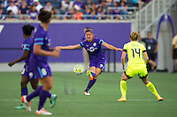 Orlando, Florida - Sunday, May 8, 2016: Orlando Pride defender Laura Alleway (5) plays a ball into space during a National Women's Soccer League match between Orlando Pride and Seattle Reign FC at Camping World Stadium.