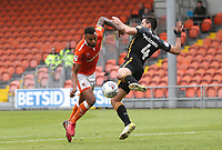 Blackpool's Curtis Tilt and Bradford City's Ryan McGowan<br /> <br /> Photographer Rachel Holborn/CameraSport<br /> <br /> The EFL Sky Bet League One - Blackpool v Bradford City - Saturday September 8th 2018 - Bloomfield Road - Blackpool<br /> <br /> World Copyright &copy; 2018 CameraSport. All rights reserved. 43 Linden Ave. Countesthorpe. Leicester. England. LE8 5PG - Tel: +44 (0) 116 277 4147 - admin@camerasport.com - www.camerasport.com
