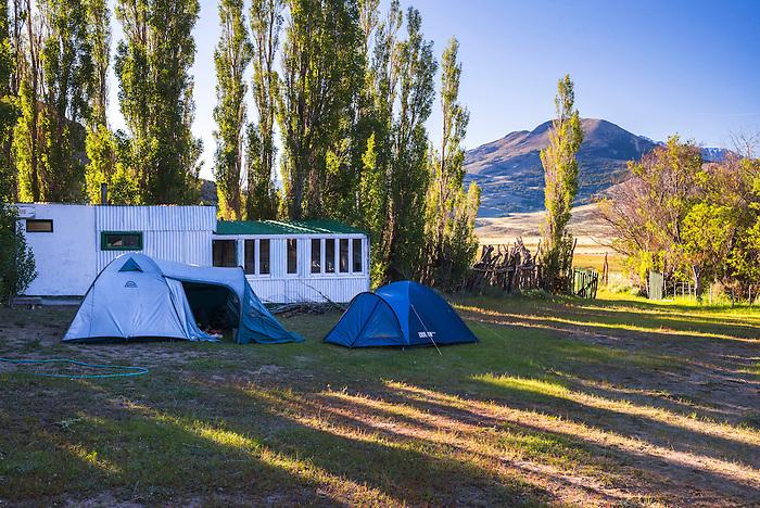 Camping site at Estancia La Oriental, Perito Moreno National Park (Parque Nacional Perito Moreno), Santa Cruz Province, Argentinian Patagonia, Argentina