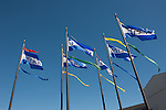 The flags flying in the wind at Pier 39, Fisherman's Wharf, San Francisco, California