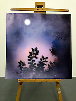 "Dusk Moon, 42 3/4"" x 42 3/4"" x 2 1/2"", Digital Print on Canvas, Stretched with Black on Sides, Matte Finish"