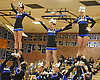 The Riverhead varsity cheerleaders perform during a competition held at Hauppauge High School on Saturday, Jan. 21, 2017.