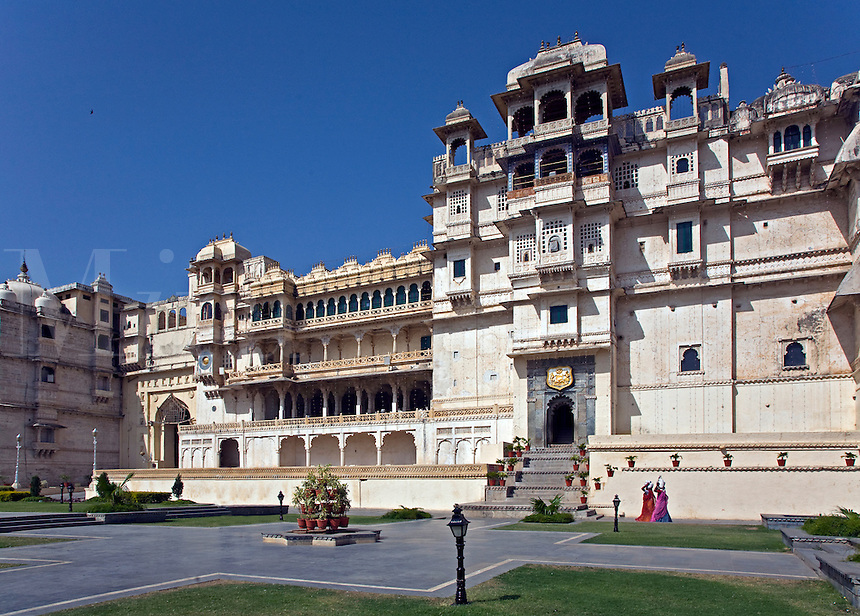 The CITY PALACE of UDAIPUR, whose original builder was MAHARAJA UDAI SINGH ll, rises to 30.4 meters in height  - RAJASTHAN, INDIA