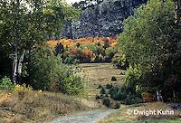 KN07-005c  Mt. Kineo on Moosehead Lake, Maine - autumn scene at base of mt.