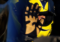Feb. 17 2012; Chandler, AZ, USA; NHRA top fuel dragster driver Morgan Lucas during qualifying for the Arizona Nationals at Firebird International Raceway. Mandatory Credit: Mark J. Rebilas-