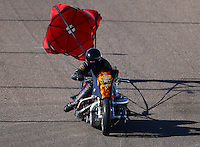 Feb 26, 2016; Chandler, AZ, USA; NHRA top fuel Harley motorcycle rider Mike Pelrine during qualifying for the Carquest Nationals at Wild Horse Pass Motorsports Park. Mandatory Credit: Mark J. Rebilas-