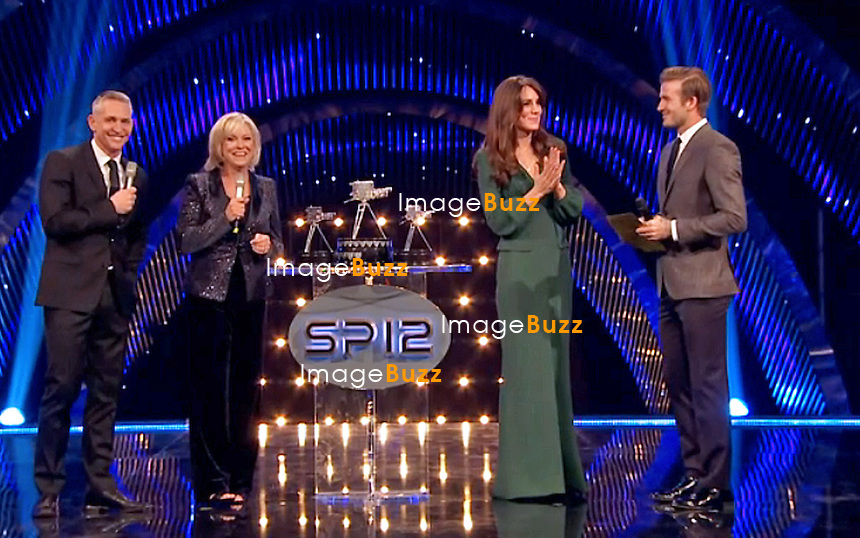KATE, DUCHESS OF CAMBRIDGE.made her first formal public appearance since her pregnancy was announced at he BBC Sports Personality of the Year ceremony at the Excel Centre in London, where she presented two awards with David Beckham. .Wearing a green Alexander McQueen dress with a slit down the front, she spent 45 minutes at the event before returning back to Kensington Palace_16/12/2012