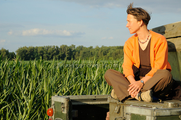 Germany 2005. Woman enjoying sunset from the back of a 1962 Land Rover 88 SWB, registration 6459UR. --- Releases available. Automotive trademarks are the property of the trademark holder, authorization may be needed for some uses.