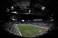 A general view of the stadium during the second half of a friendly between Sanots FC and the New York Red Bulls at Red Bull Arena in Harrison, NJ, on March 20, 2010. The Red Bulls defeated Santos FC 3-1.