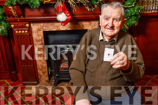 Paddy Mahony from Cullen, Co Cork celebrating his 100th birthday which is on 25th December with a game of cards with his friends in the River Island Hotel in Castleisland on Sunday December 22nd,